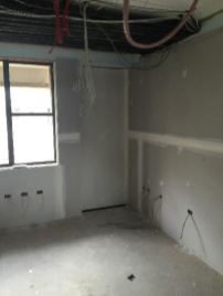 sheeted walls to partition room
